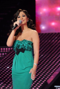 pictrure of the Star Academy 7 prime 16th finale during the performance of singer Elissa on stage 5