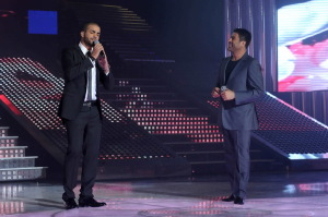 pictrure of the Star Academy 7 prime 16th finale during the performance of singer Wael Kfoury on stage with jordanian student Mohamad Ramadan