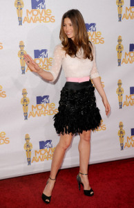Jessica Biel arrives at the 2010 MTV Movie Awards held at the Gibson Amphitheatre on June 6th 2010 at Universal Studios in California 1