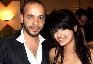 Rahma Ahmed Siba3i picture after star academy season seven at the finale prime dinner party with teacher Michel Fadel