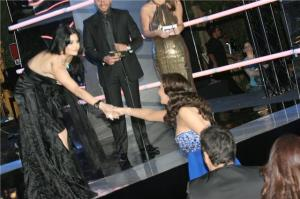 Haifa Wehbe picture during the 2010 annual Murex dor awards in Lebanon with Lebanese singer Elissa