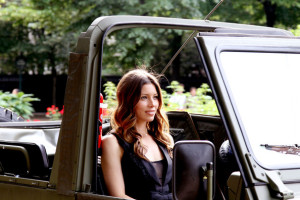 Jessica Biel spotted on June 14th 2010 as she arrives in an offroad army utility vehicle to promote her new film in Paris 1