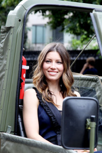 Jessica Biel spotted on June 14th 2010 as she arrives in an offroad army utility vehicle to promote her new film in Paris 3