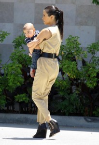 Kourtney Kardashian and her son Mason Disick seen on June 14th 2010 while shopping at Naimies Beauty Center 5