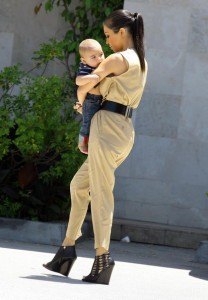 Kourtney Kardashian and her son Mason Disick seen on June 14th 2010 while shopping at Naimies Beauty Center 4