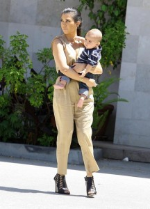 Kourtney Kardashian and her son Mason Disick seen on June 14th 2010 while shopping at Naimies Beauty Center 1