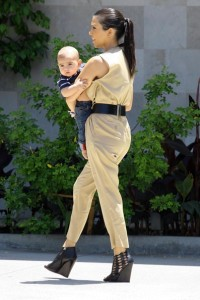 Kourtney Kardashian and her son Mason Disick seen on June 14th 2010 while shopping at Naimies Beauty Center 6