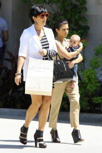 Kris Jenner seen with her daughter Kourtney Kardashian and her grandson Mason Disick on June 14th 2010 while shopping at Naimies Beauty Center 5