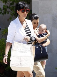 Kris Jenner seen with her daughter Kourtney Kardashian and her grandson Mason Disick on June 14th 2010 while shopping at Naimies Beauty Center 3