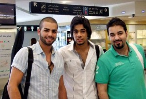 picture of star academy season 7 student Mohamad Ramadan from Jordan after leaving the academy with Kuwaiti Student Azooz and Saudi student Soltan