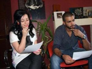 picture of star academy season 7 student Mohamad Ramadan from Jordan after leaving the academy with jordanian singer Diana Karazon at the recording studio