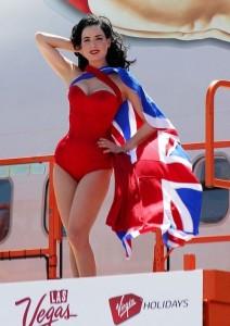 Dita Von Teese photo shoot on June 15th 2010 for Virgin Atlantic at McCarran Airport in Las Vegas 4