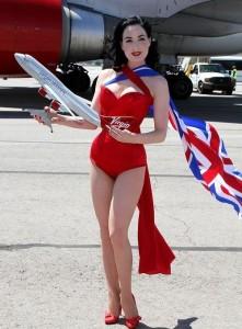 Dita Von Teese photo shoot on June 15th 2010 for Virgin Atlantic at McCarran Airport in Las Vegas 5