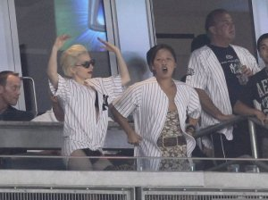 Lady Gaga seen on June 18th 2010 at the Yankees game in New York City 3