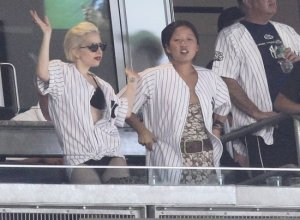 Lady Gaga seen on June 18th 2010 at the Yankees game in New York City 4