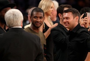 Usher and Rayan Secrest at Game Seven of the 2010 NBA Finals at Staples Center on June 17th 2010 in Los Angeles
