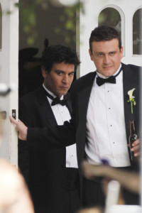 Josh Radnor spotted with actor Jason Segel film a wedding scene on the set of How I Met Your Mother on August 10th 2010 in LA 1