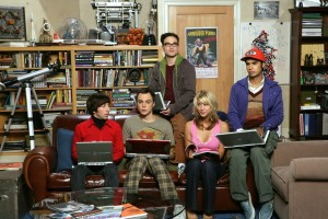 poster of Penny, Leonard, Raj, Howard Wolowitz, and Sheldon from the comdey series The Big Bang Theory