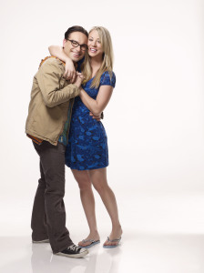 poster photo shoot of Johnny Galecki and and Kaley Cuoco as Penny and Leonard Hofstadter in the comedy series The Big Bang Theory