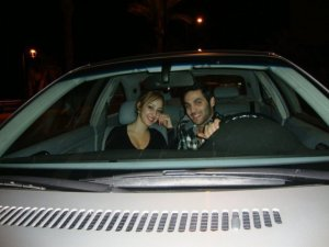 picture of star academy graduate Yahia sweis with Basma Boussiel inside his car