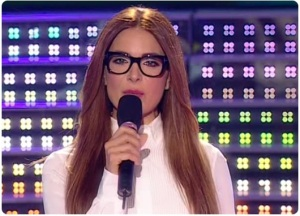 The 6th prime of star academy 2011 on May 6th 2011 picture of Hilda Khalifeh wearing black frame eyeglasses