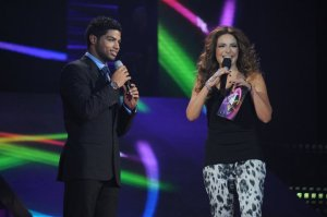picture from the Star Academy 9th Prime on May 27th 2011 of Saudi student Mohamad Abdullah with Hilda Khalifeh