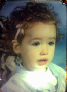 various pictures of Nina Abdel Malak from Lebanon when she was a baby