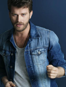 Kivanc Tatlitug in a denim shirt