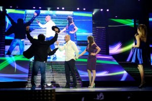 The 14th prime of staracademy8 on July 1st 2011 picture of the three nominees Layan and Daqdooq and Gilbert on stage