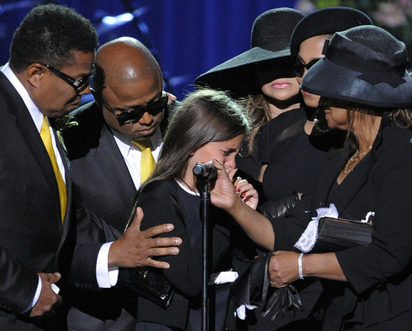 Michael Jacksons daughter Paris gives a speech about her father on stage during the public memorial service held at Staples Center on July 7th 2009 in Los Angeles California