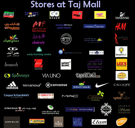 shops and stores that will be at Taj Mall in Abdoun Amman