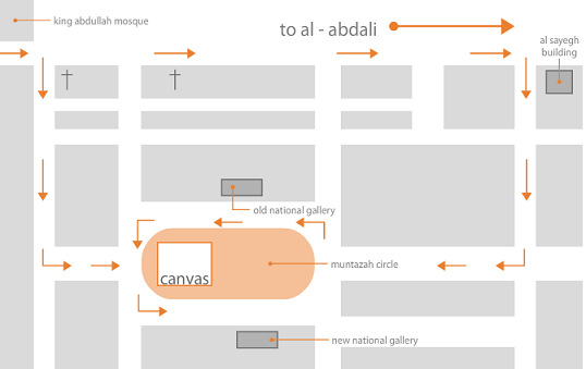Canvas Resturant and cafe location map in amman alweibdeh