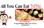 all you can eat sushi each monday