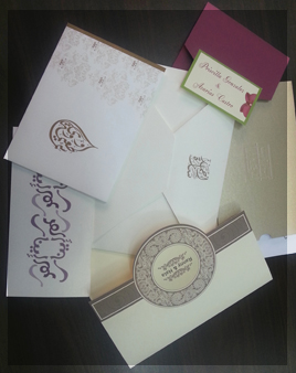 rafidi press embossed arabic wedding card