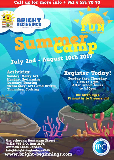 Bright Beginnings summer camp schedual 2017