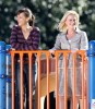 Amy Poehler and Rashida Jones at the filming set of Public Service