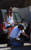 Ashley Tisdale was spotted at a local gas station with her father Mike, where he filled her tires with air