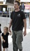 Christian Bale and his daughter Emmeline at Londons Heathrow International Airport