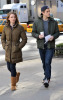 Aaron Tveit and Holley Fain arrive on the set of the tv show Gossip Girl on February 13th 2009