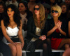 Kim Kardashian with Nicky Hilton and Paris Hilton at the Tracy Reese fashion show