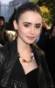 Lily Collins attends the Mercedes Benz Fashion Week in New York City on February 13th 2009