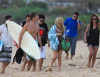 The cast of the hills at Sunset Beach in Hawaii filming the MTV show The Hills