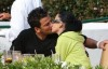 Katie Price aka Jordan kissing Peter Andre kiss while having lunch at Tra di Noi in Los Angeles California on February 23rd 2009