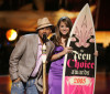 jojo present an award onstage with Frankie J at the 2005 Teen Choice Awards held at Gibson Amphi theatre at Universal City Walk on August 14th 2005