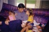 Lara Scandar when she was young with her father and sister