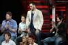 Matt Giraud gets the news that he's not safe this week while Michael Sarver,  Kris Allen, and Adam Lambert sitting beside him