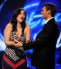 Tatiana Del Toro and Ryan Seacrest onstage during the live elimination show of American Idol March 4th 2009 in Los Angeles California