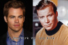 William Shatner as Kirk in the original Star Trek and Chris Pine as Kirk in the new 2009 Star Trek