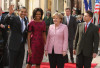 U.S president Barack Obama and first lady Michelle Obama with German Chancellor Angela Merkel and her husband Joachim on April 3rd 2009 in Germnay
