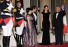 French President Nicolas Sarkozy and Carla Bruni Sarkozy with and Lebanese President Michel Sleimane and Lebanese First Lady Wafa Sleimane attend State Dinner at Elysee Palace on March 16th 2009 in Paris France 1